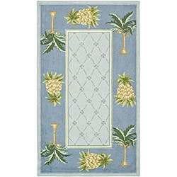 Hand-hooked Palm Light Blue/ Blue Wool Rug (3'9 x 5'9)