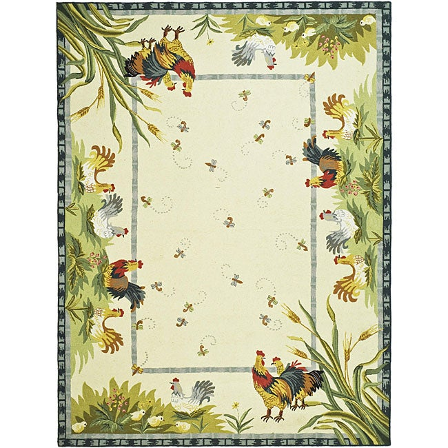 Safavieh Hand-hooked Roosters Ivory Wool Rug (8'9 x 11'9)