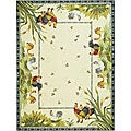 Hand-hooked Roosters Ivory Wool Rug (8'9 x 11'9)