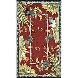 Safavieh Hand-hooked Roosters Burgundy Wool Rug (2'9 x 4'9)