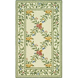Hand-hooked Garden Trellis Ivory Wool Rug (2'9 x 4'9)