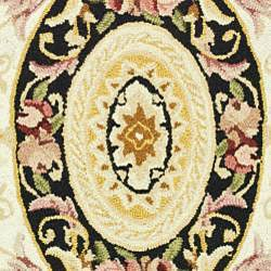 Hand-hooked Aubusson Ivory/ Black Wool Rug (2'9 x 4'9)