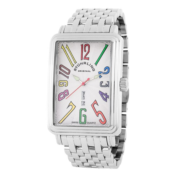 Stuhrling Original Men's Silver Uptown Ozzie XL Quartz Watch
