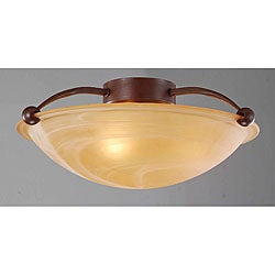 Light Brown Glass Shade Three-light Antique Copper Ceiling Fixture