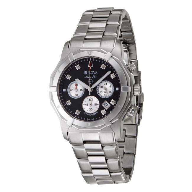 Bulova Mens Marine Star Stainless Steel Diamond Quartz Watch