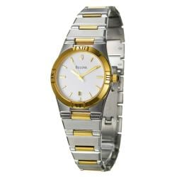 Bulova Women's Two-tone Stainless Steel White Dial Watch