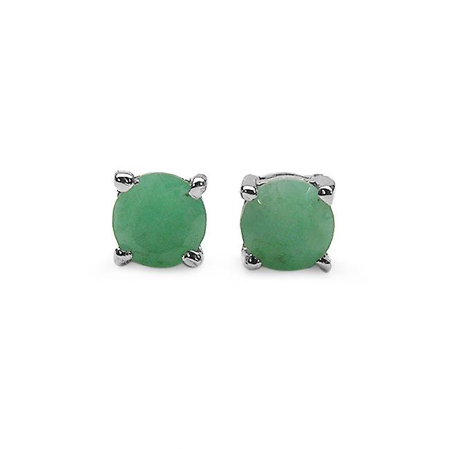 Malaika Sterling Silver Round-cut Emerald Stud Earrings