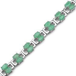 Malaika Sterling Silver Oval-cut Emerald Rectangle Link Bracelet