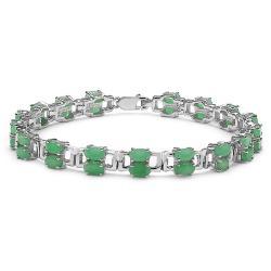 Malaika Sterling Silver Oval-cut Emerald Rectangle Link Bracelet