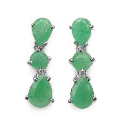 Malaika Sterling Silver Pear- and Round-cut Emerald Dangle Earrings