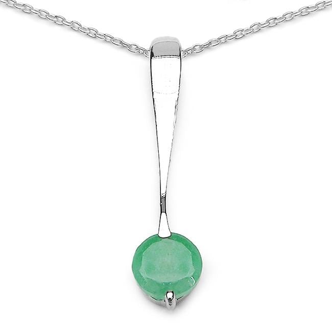 Malaika Sterling Silver Round-cut Emerald Drop Necklace