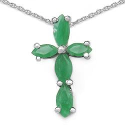 Malaika Sterling Silver Marquise-cut Emerald Cross Necklace