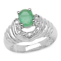 Sterling Silver Oval-cut Emerald and Diamond Accent Ring