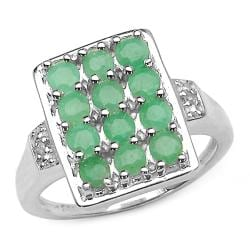 Sterling Silver Emerald and Diamond Accent Rectangle Ring