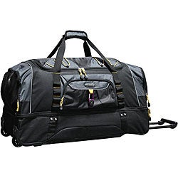 Travelers Club Black w/ Yellow Trim 30-inch Rolling Drop-Bottom Duffel Bag
