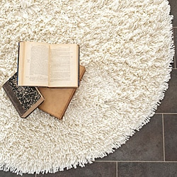 Hand-woven Bliss Off-White Shag Rug (6' Round)