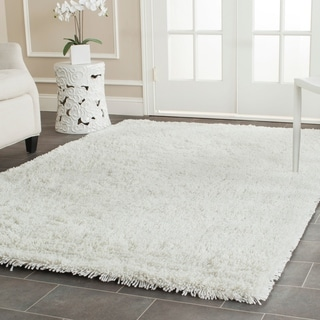 Hand-woven Bliss Off-White Shag Rug (7'6 x 9'6)