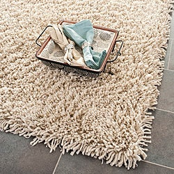 Hand-woven Bliss Taupe Shag Rug (9'6 x 13'6)