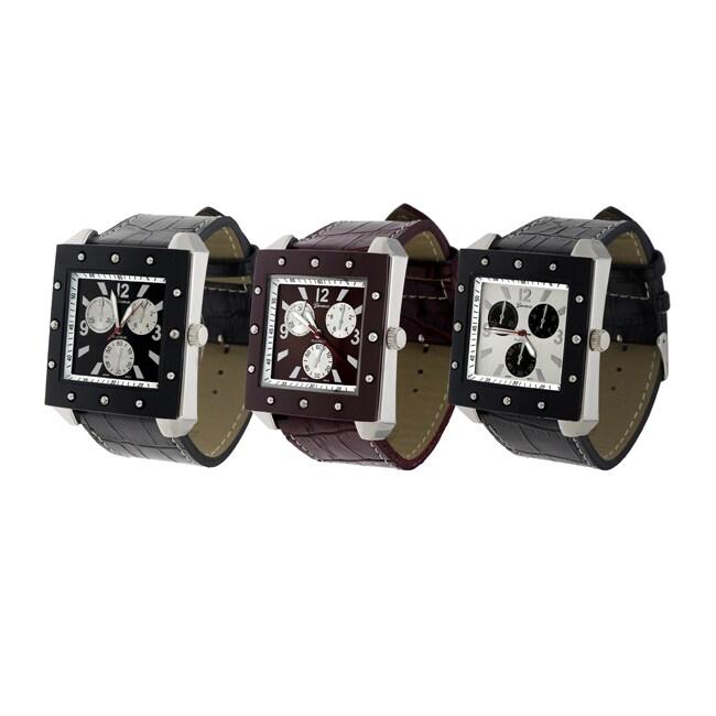 Geneva Platinum Men's Leather Strap Watch