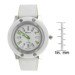 Geneva Platinum Women's Lined White Buckle Watch