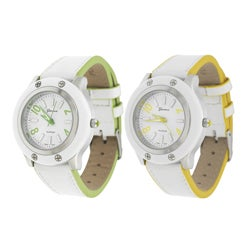 Geneva Platinum Women's Lined White Buckle Watch