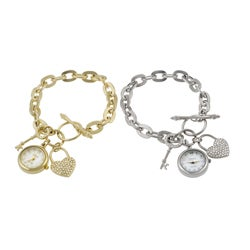 Geneva Platinum Women's Lock and Key Charm Watch