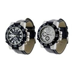 Geneva Platinum Men's Black Simulated Leather Strap Watch