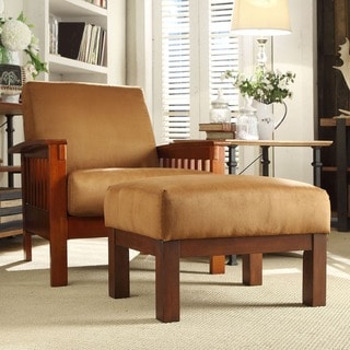 TRIBECCA HOME Hills Mission-style Oak/ Rust Chair and Ottoman