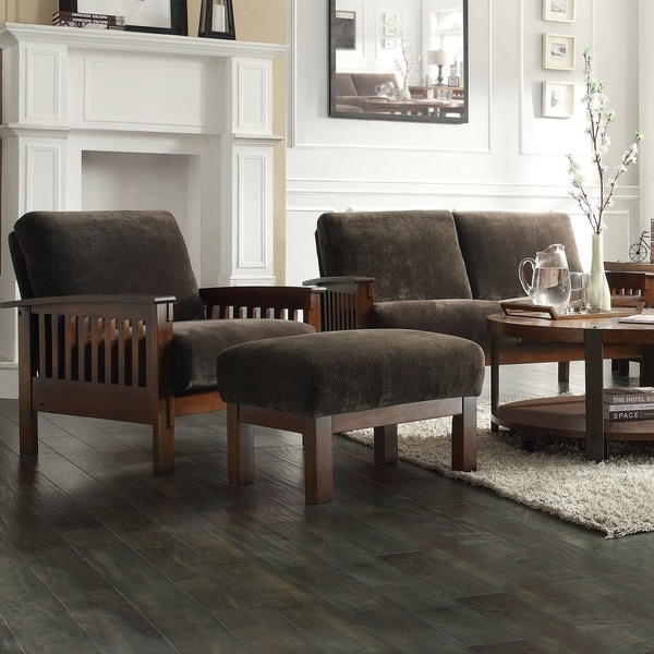 Tribecca Home Hills Mission-style Oak Chair and Ottoman