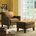 TRIBECCA HOME Uptown Peat Microfiber Modern Accent Chair and Ottoman