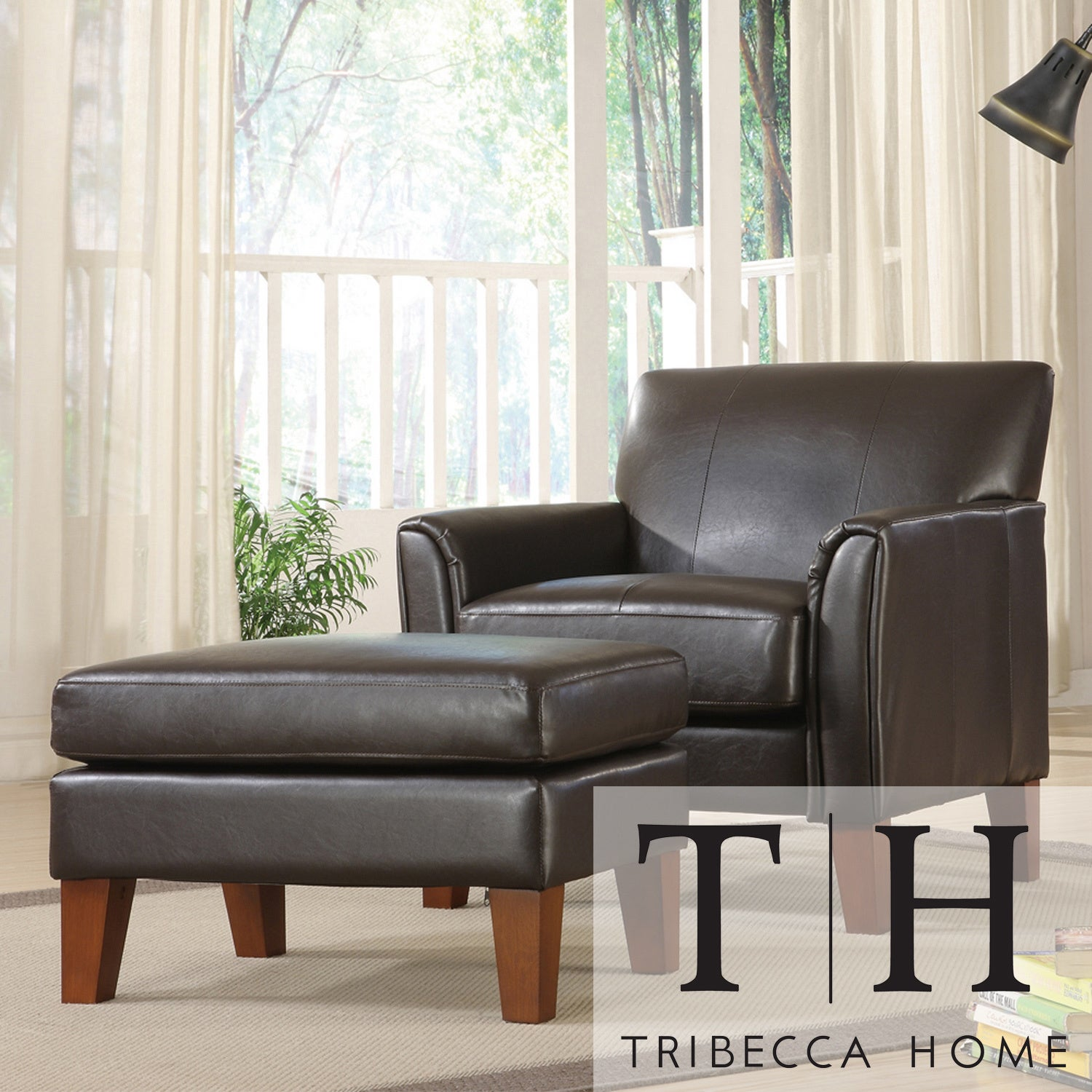 TRIBECCA HOME Uptown Dark Brown Faux Leather Chair and Ottoman at Sears.com