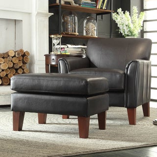TRIBECCA HOME Uptown Dark Brown Faux Leather Chair and Ottoman