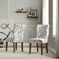 ETHAN HOME Chocolate Swirl Print Accent Chairs (Set of 2)