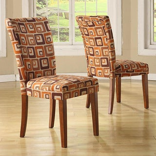Tribecca Home Decor Orange Cube Print Dining Chairs (Set of 2)