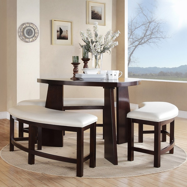 inspire q paradise merlot triangle shaped 4 piece dining set