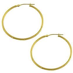Fremada 14k Yellow Gold Diamond-cut Hoop Earrings