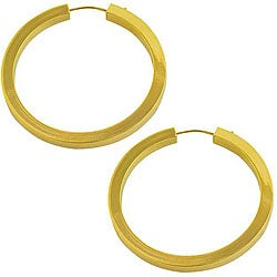 Fremada 14k Yellow Gold Flat Tube Hoop Earrings