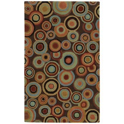 Hand-tufted Contemporary Multi Colored Circles Geometric Wool Current New Zealand Wool Rug (8' x 11')