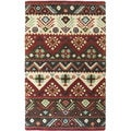 Hand-tufted Red Southwestern Aztec Passion New Zealand Wool Rug (8' x 11')