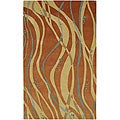 Hand-tufted Orange Contemporary Spirit Wool Abstract Rug (8' Square)