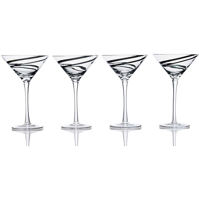 Luigi Bormioli Black Swirl 8-oz Martini Glasses