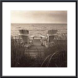Christine Triebert 'Beach Chairs' Framed Metal Art