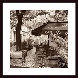 Alan Blaustein 'Cafe, Aix-en-Provence' Wood Framed Art Print