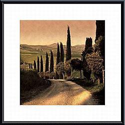Elizabeth Carmel 'Country Lane, Tuscany' Metal Framed Art
