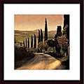 Elizabeth Carmel 'Country Lane, Tuscany' Wood Framed Art