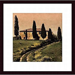 Elizabeth Carmel 'Tuscan Farmhouse' Wood Framed Art