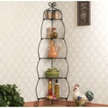 Scrolled Black Corner Etagere
