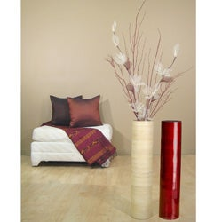 Ivory Lilies/ Red Branches with 24-inch Natural Bamboo Floor Vase