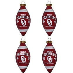 Oklahoma Sooners 4-piece Teardrop Ornament Set