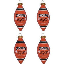 Oklahoma State 4-piece Teardrop Ornament Set